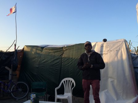 Jamal in his shelter in Calais.